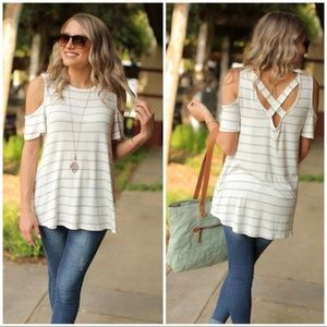 Gray and Ivory Striped Cold Shoulder Tunic